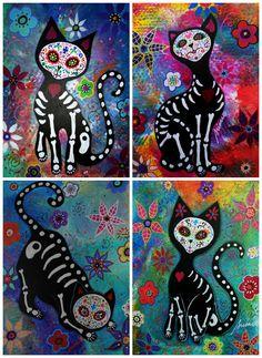 Mexican Folk Art Day of the Dead 4 EL GATO Cats by prisarts, $25.00