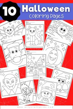 10 Friendly Halloween coloring pages for kids. Choose from a not so spooky witch or werewolf to a happy vampire and spider! There's something for everyone in this friendly Halloween printable bundle of coloring pages. Cute Halloween Crafts for Kids | Halloween Kids Printables | Halloween Kids Coloring Pages | Halloween Arts and Crafts for Kids #ColoringPages | Printable Coloring Pages for Kids | Preschool Coloring Pages