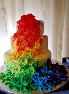 Pretty Rainbow Flowers | pretty rainbow fashion food chocolate flowers pink colour colorful ...
