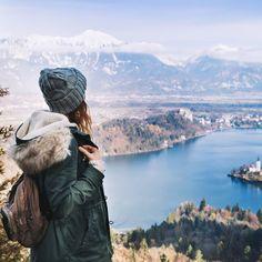 Bled Bled, Slovenia Style + Design Travel Shop sky tree mountain wilderness mountainous landforms Winter mountain range national park Lake glacial landform terrain rock water fell mount scenery travel fjord landscape plant alps Adventure hill