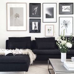 As it's black and white, it may fit in nearly every room. Designing your living room elegantly is one of the fantastic ideas. Always new and advanced, the black white living room is just one of the ideal choices for… Continue Reading → Home Living Room, Apartment Living, Living Room Designs, Gallery Wall Living Room Couch, Charcoal Sofa Living Room, Charcoal Couch, Black And White Interior, Black And White Living Room Ideas, Black And White Photo Wall