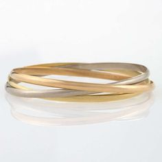"Cartier ""Trinity"" Tri-Color Gold Bangle Bracelets image 2"