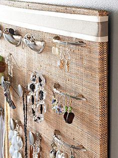 Bathroom wall--jewelry organizer.  Use drawer pulls! YES!