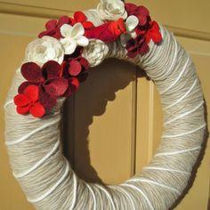 Crimson and Cardinal Yarn Wreath with Felt Flowers