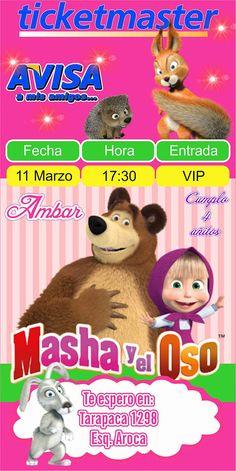 Masha y el Oso Tarjeta de Invitacion