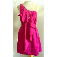 Fuchsia 1 shoulder ruffle dress w/ tie @ waist Fuschia 1 shoulder ruffle dress w/ tie @ waist szS. Hidden zipper at the side Rosebud Dresses One Shoulder