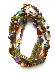 Necklace Semiprecious Mix and Vintage African Brass 2 by IMPERIO jp