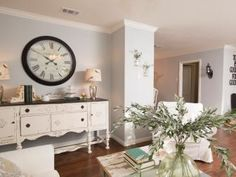 Love the buffet under the clock and also the wall color. HGTV's Fixer Upper With Chip and Joanna Gaines | Show | HGTV