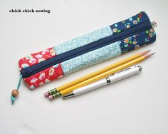 chick chick sewing: Slim patchwork pencil case スリムタイプのペンケース