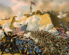 Alfred Terry leading the Union Army to capture Fort Fisher in January American War, American Soldiers, American History, Confederate States Of America, America Civil War, Civil War Art, Military Records, Union Army, Free Family Tree