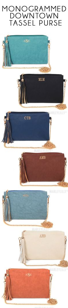 This bag is the perfect clutch to take out! You can change the wristlet strap to a cross body when you hit the town! Preview your monogram on every color at Marleylilly.com! #Monogrammed