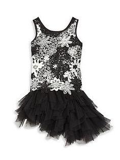 Biscotti Little Girl's Modern Princess Floral Dress - Black