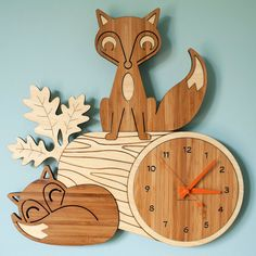 Fox Bamboo Clock by graphicspaceswood on etsy