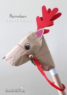 Reindeer Hobby Horse - Create this simple Christmas craft using the cardboard tube from a roll of Christmas wrap.