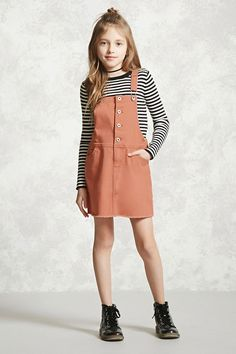 Forever 21 Girls - A denim overall dress featuring a frayed hem, a buttoned front placket, a five-pocket construction, and adjustable straps.