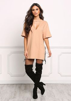 Nude V Cut Out Side Lace Up Tunic Top - Tops - Clothes