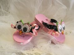 I created these Hoot! Hoot! Flip Flops just in time for Spring! How cute would your little one look in these fun flip flops for spring and summer! These are a size 5 toddler shoes in pink, decorated with polka dot ribbon and a custom foam Hoot Owl face I created with big Wiggle Eyes! Please email me if you would be interested in a different size.