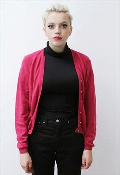 on asosmarketplace from Pretty Disturbia xxx Wool Cardigan, Vintage Pink, Knitwear, Buy And Sell, Vintage Fashion, Pretty, Jackets, Stuff To Buy, Down Jackets