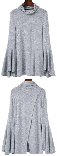 Fall Style // Look fab while staying warm with this grey bell-sleeved back-slit top. Autumn Winter Fashion, Winter Style, Fall Winter, Cool Style, My Style, White Skinny Jeans, Clothing Websites, So Little Time, Affordable Fashion
