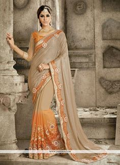We have ensemble a symphony of enchanting piece to restyle your senses. Be your own style icon with captivating orange georgette and net designer saree. The brilliant attire creates a dramatic canvas ...