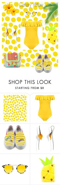 """""""Canary Yellow"""" by tonhr on Polyvore featuring Jennifer Paganelli, Joshua's, Krewe and Sophia Webster"""