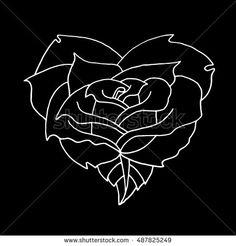 Rose on a black background. Rose vector. Rose icon. Rose logo. Vector illustration of flower rose. Beautiful rose. Rose art. Rose bouquet. Rose nature. Rose objects. Rose poster. Rose vintage.Rose bud