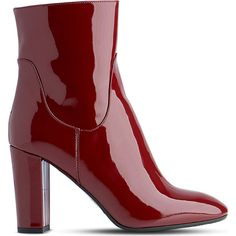 LK BENNETT Pellino patent-leather heeled ankle boots ($140) ❤ liked on Polyvore featuring shoes, boots, ankle booties, block-heel ankle boots, red booties, red ankle boots, patent leather booties and high heel booties