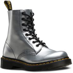 Dr. Martens Silver Pascal Leather Boot ($60) ❤ liked on Polyvore featuring shoes, boots, ankle boots, silver low heel shoes, leather platform boots, short heel boots, silver platform shoes and real leather boots