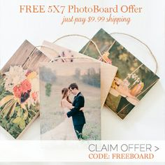 Get a free 5x7 Photo on Wood from PhotoBarn.com! Just pay for shipping.