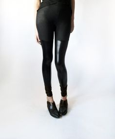 over-the-knee faux leather leggings