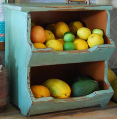 Storage- Kitchen Storage Boxes Primitive Rustic Country Chic 2 Bin Green-made To…