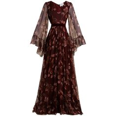 Luisa beccaria V-neck leaf-print silk-crepe gown (£3,105) ❤ liked on Polyvore featuring dresses, gowns, gown, burgundy multi, bell sleeve dress, sheer gown, brown dress, long ball gowns and long evening dresses