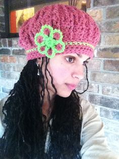 Crochet Slouch Cap  http://www.etsy.com/listing/89593597/crochet-pink-and-bright-green-slouch