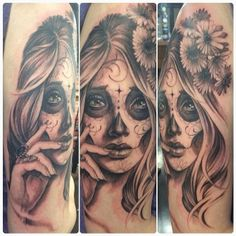 Beautiful Day Of The Dead girl tattoo by Elvia done at Adrenaline Vancity