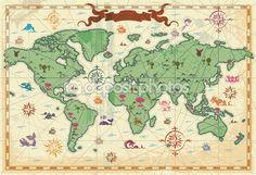 Renkli Antik Dünya Haritası — Stok İllüstrasyon #2791047