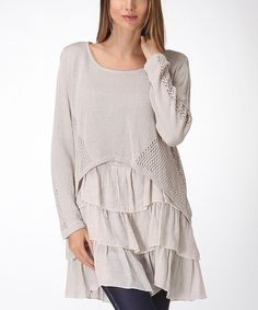 Look what I found on #zulily! Khaki Bohemian Top by Trendology #zulilyfinds