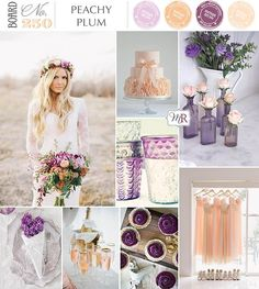 Peachy Plum Wedding; love the vases and the cups