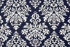 Damask Linen Fabric, Navy on OneKingsLane.com