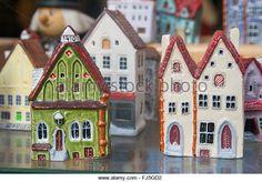 Ceramic models of medieval merchant's houses in a souvenir shop window, Tallinn, Estonia - Stock Image
