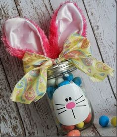 Easter Bunny Mason Jar for Silhouette and Cricut - Burton Avenue Easter Candy, Easter Gift, Easter Crafts, Easter Ideas, Jar Crafts, Easter Decor, Holiday Crafts, Holiday Ideas, Cute Easter Bunny