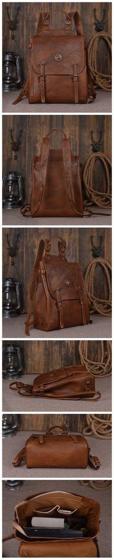 Large Leather Backpack Vintage Leather Backpack Travel  Backpack Men's Fashion Backpack Men's Gifts Leather Design