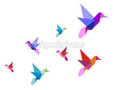Group of various Origami hummingbirds — Stock Vector #2554619