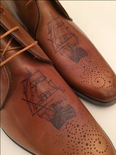 Tattoos of ships - leather tattooed shoes