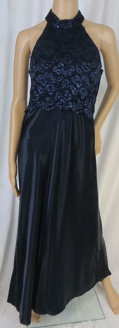 """STEPPIN OUT"" DEEP BLUE SATIN & METALLIC DRESS - PLEASE SEE ALL PICTURES #STEPPINOUT"