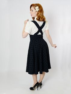 Rockabilly retro skirt with straps