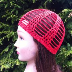 This breezy skullcap was crocheted using 100% cotton yarn in a bright red. Measures 7 inches from crown to rim edge 20-22 inches in circumference Suitable for most adults. *Item should be gently hand washed and laid flat to dry for best results and longer life.