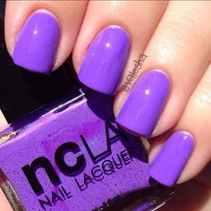 NCLA nail lacquer in : Pick Me Up At Melrose Place ( Electric Purple) . Picture from Valesha.