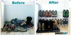 Uporządkuj swoje obuwie przy pomocy tego stojącego wieszaka. | 15 sprytnych pomysłów na utrzymanie porządku w domu