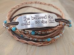 She Believed She Could So She Did - Hand Stamped Brown Leather Wrap Bracelet. Inspirational Quote Jewelry, Multi Strand, Boho, Turquoise