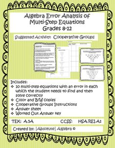 Includes: 10 multi-step equations with an error in each which the student needs to find and then solve correctly Color and B& copies Cooperative Groups Instructions Answer sheet Worked Out Answer key Created by: 7th Grade Math, Algebra 1, Task Cards, Teaching Math, Critical Thinking, Middle School, Geometry, Symbols, Student